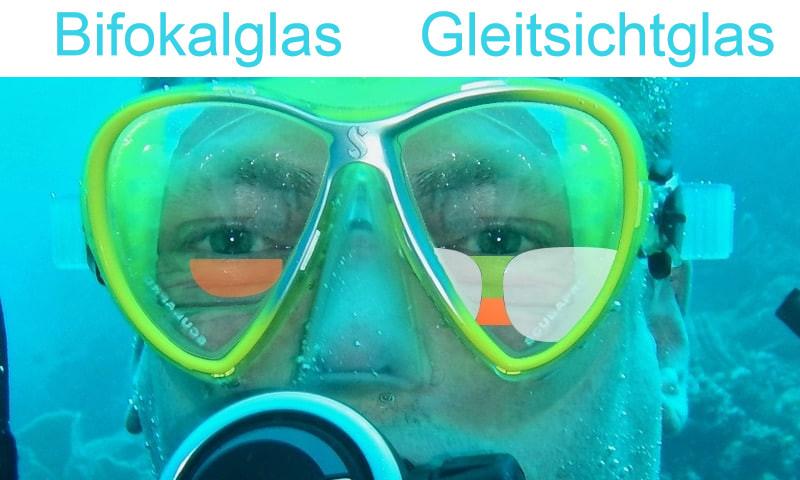 Das Bild zeigt einen Taucher und Gleitsichtgläser in der Tauchmaske im Vergleich zu Bifokalgläser